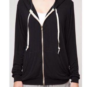 John Galt/ Brandy Melville Black zip up hoodie